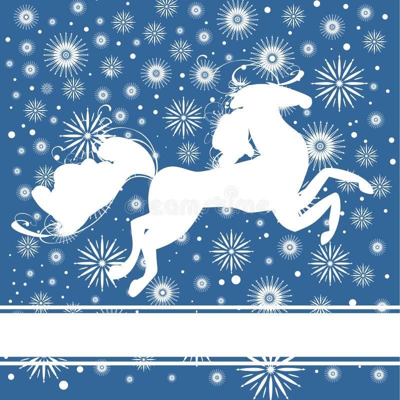 Vykort för nytt år med hästen royaltyfri illustrationer