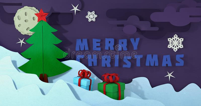 Vykort för Papercut julträd Julbakgrund för pappers- hantverk Landskap för utklippvinterjul Papper klippt glat royaltyfri illustrationer