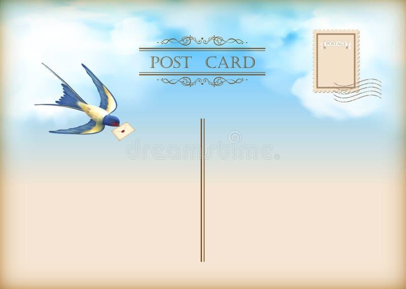 Vykort för post för himmelfågelbokstav stock illustrationer