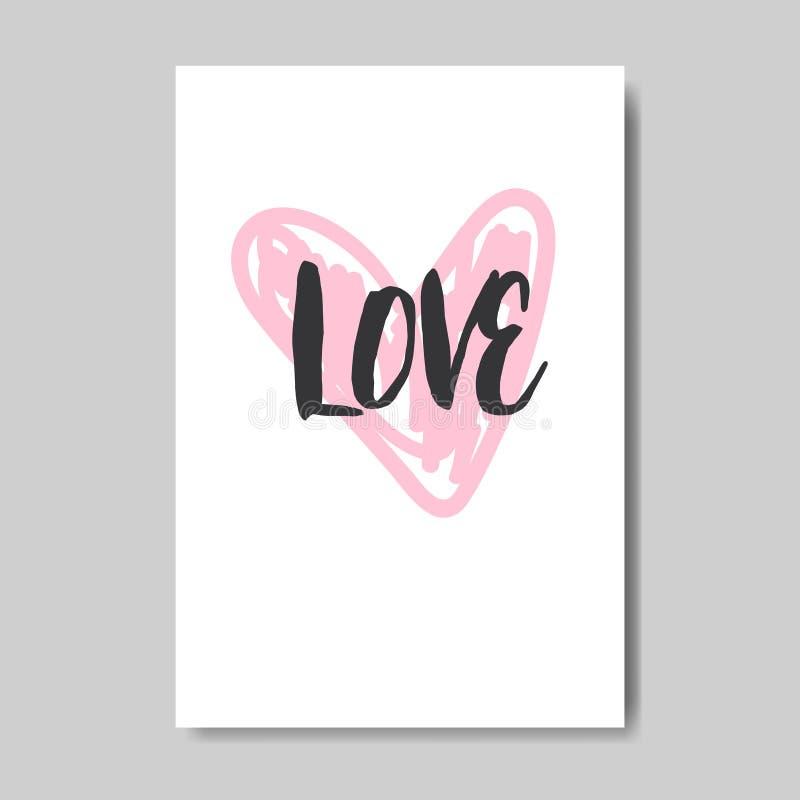 Vykort för stil för klotter för lycklig för valentin för förälskelsehälsningkort för dag för begrepp rosa för hjärta hand för for vektor illustrationer