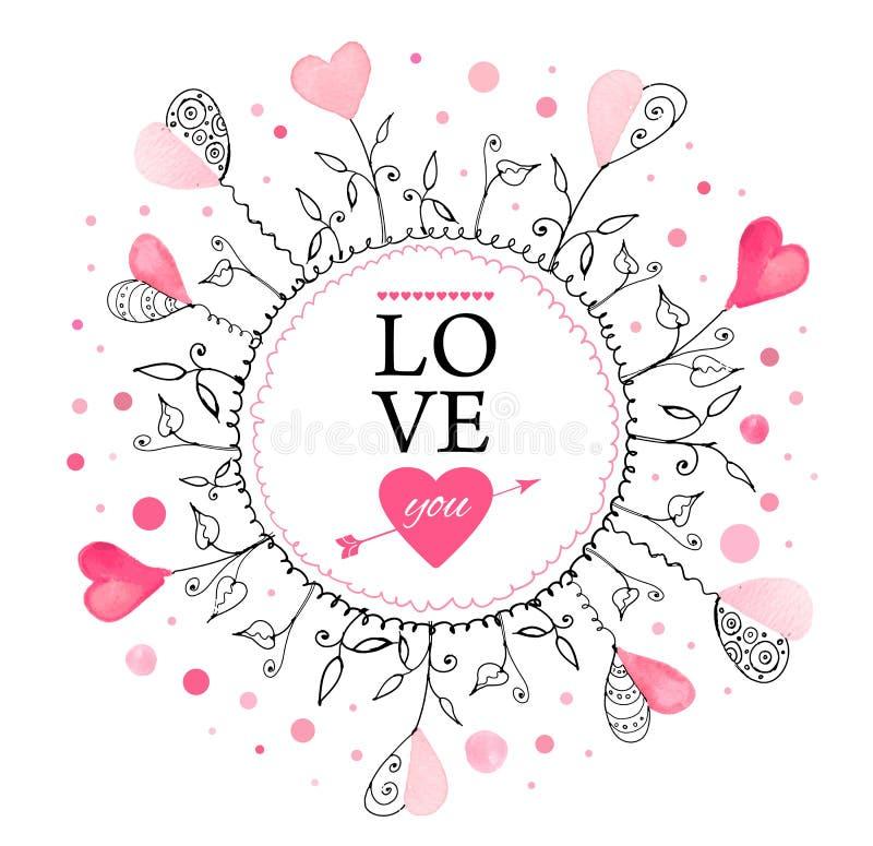 Download Vykort för valentin dag vektor illustrationer. Illustration av vykort - 37344572