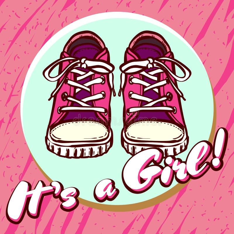 Vykort för vektor för flickababy showerlyckönskan Behandla som ett barn meddelandet i rosa färger Det är en flicka med barnskor i stock illustrationer
