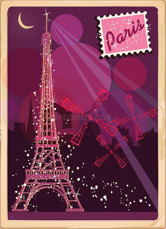 Vykort från Paris vektor illustrationer