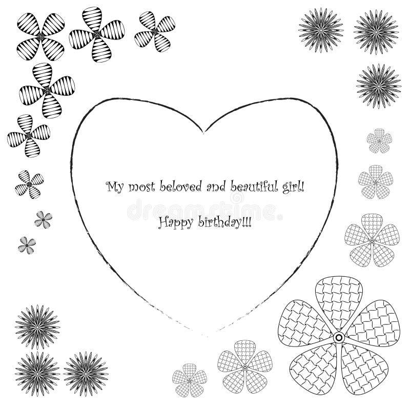 Vykort i den lyckliga födelsedagen för zenstilkonst, svartvit postca vektor illustrationer