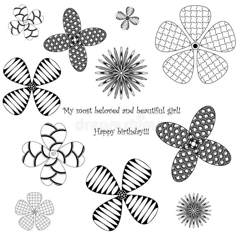 Vykort i lycklig födelsedag för zenstilkonst, blommor på vit backg vektor illustrationer