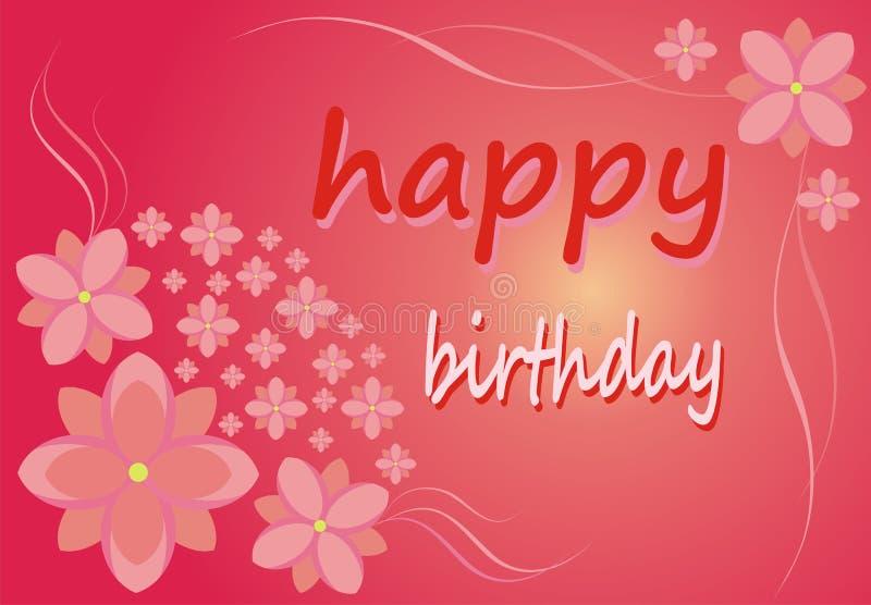 Vykort - lycklig födelsedag! Blommor på en rosa bakgrund stock illustrationer