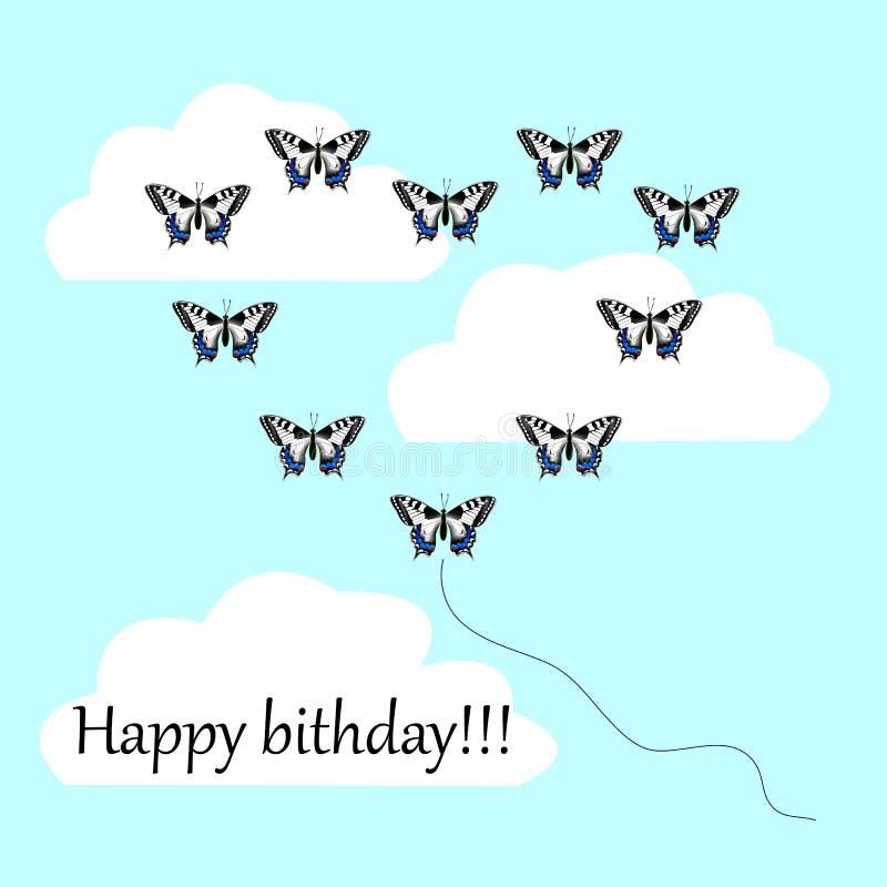 Vykort med en lycklig födelsedag, många fjärilar på en blått tillbaka vektor illustrationer