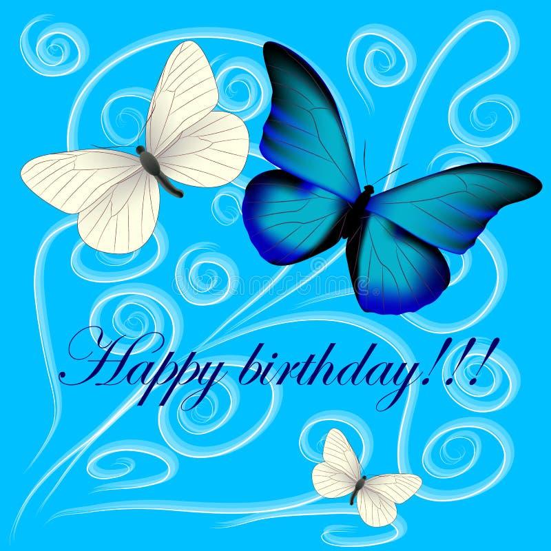 Vykort med en lycklig födelsedag, tre fjärilar på en blått tillbaka stock illustrationer