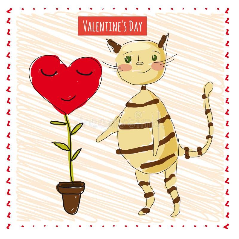 Vykort med en rolig och gullig katt med dag för blommavalentin` s royaltyfri illustrationer