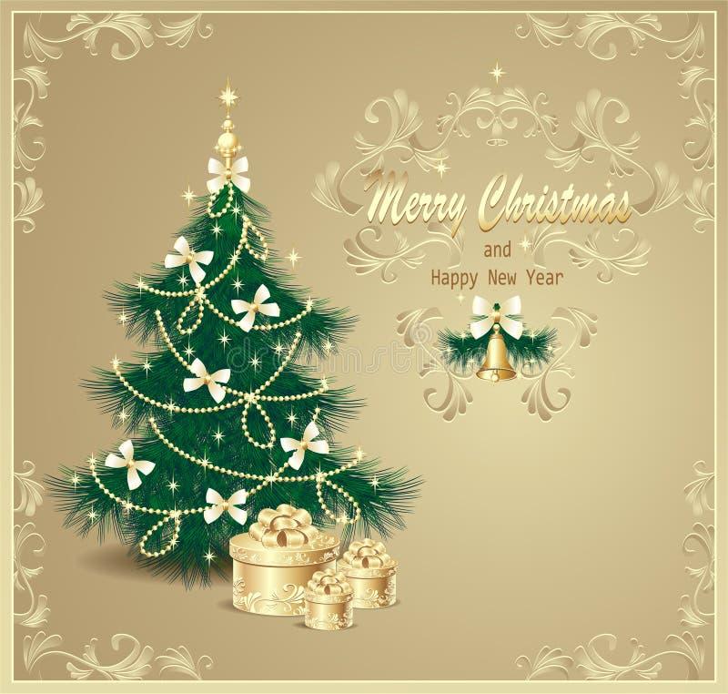 Vykort med julgranen och gåvor royaltyfri illustrationer