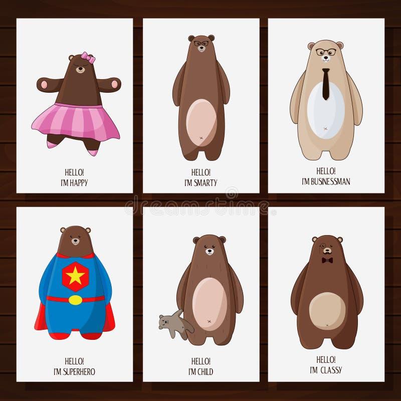 Vykort med roliga tecknad filmhipsterbjörnar stock illustrationer