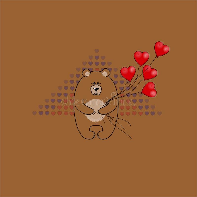 Vykort på dag för valentin` s Björn med ballonger i formen av hjärta Dekorativ textur för vektor royaltyfria bilder