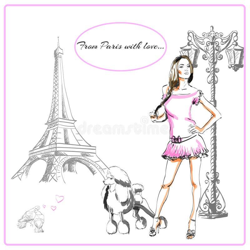 Vykort Paris stock illustrationer