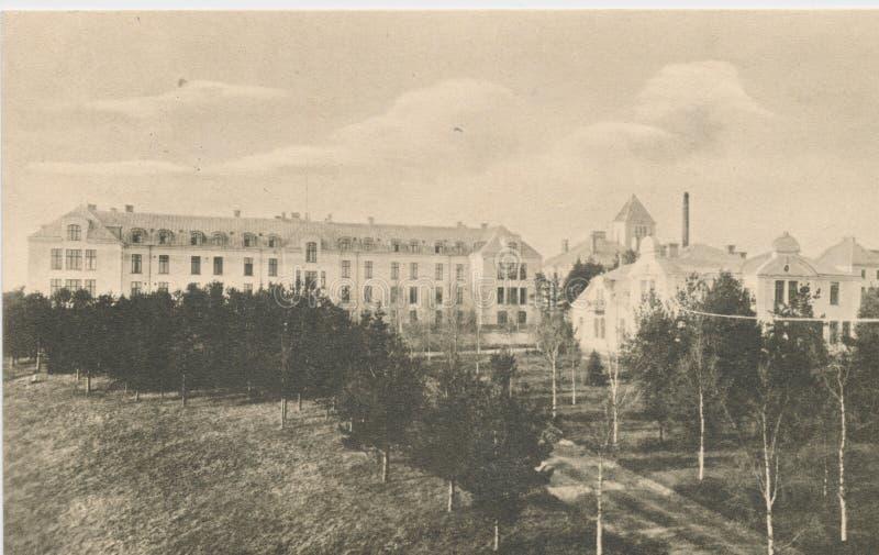 Vykort som skrivs ut i Sverige shower, Umea sjukavdelning, circa 1924 arkivfoton