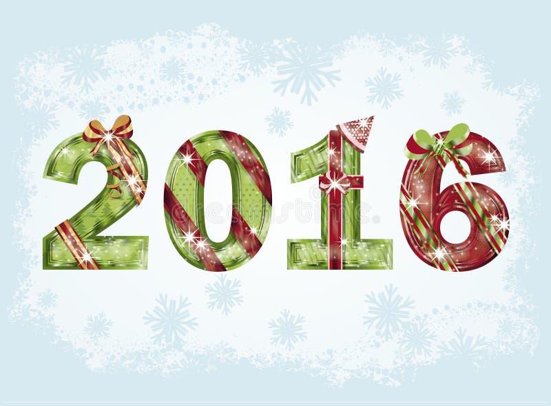Vykort 2016, vektor för lyckligt nytt år vektor illustrationer