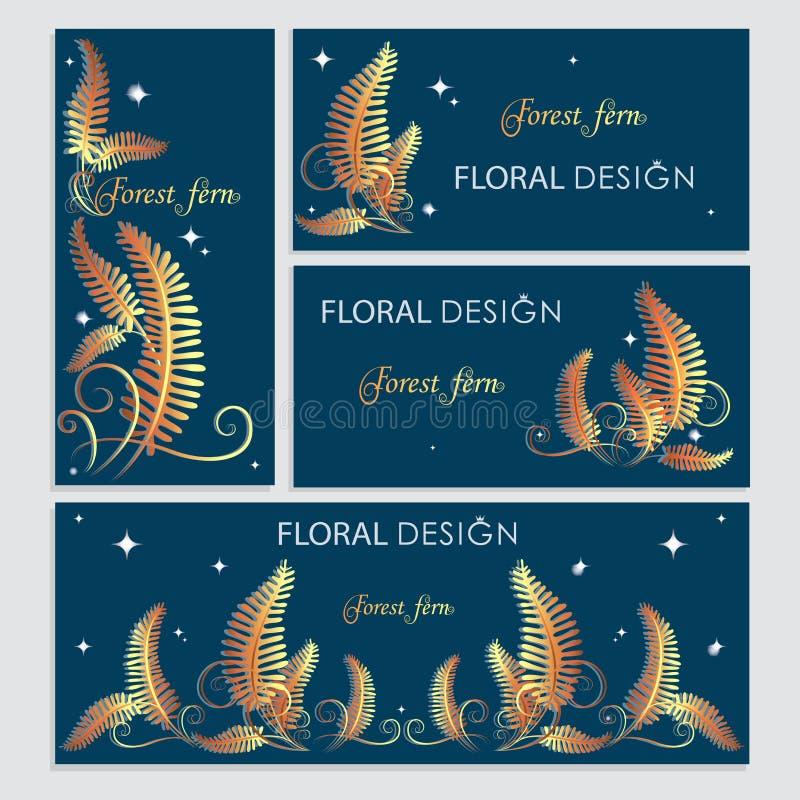 Vykortdesigner med den guld- ormbunken royaltyfri illustrationer