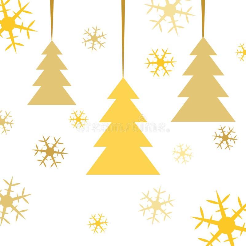 Vykortet för att gifta sig jul Abstrakt granträd för guld med kulöra snöflingor på vit bakgrund också vektor för coreldrawillustr vektor illustrationer