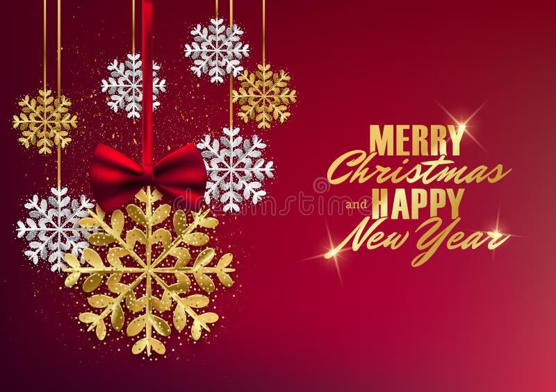 Vykortet för glad jul och för det lyckliga nya året med guld blänker sn stock illustrationer