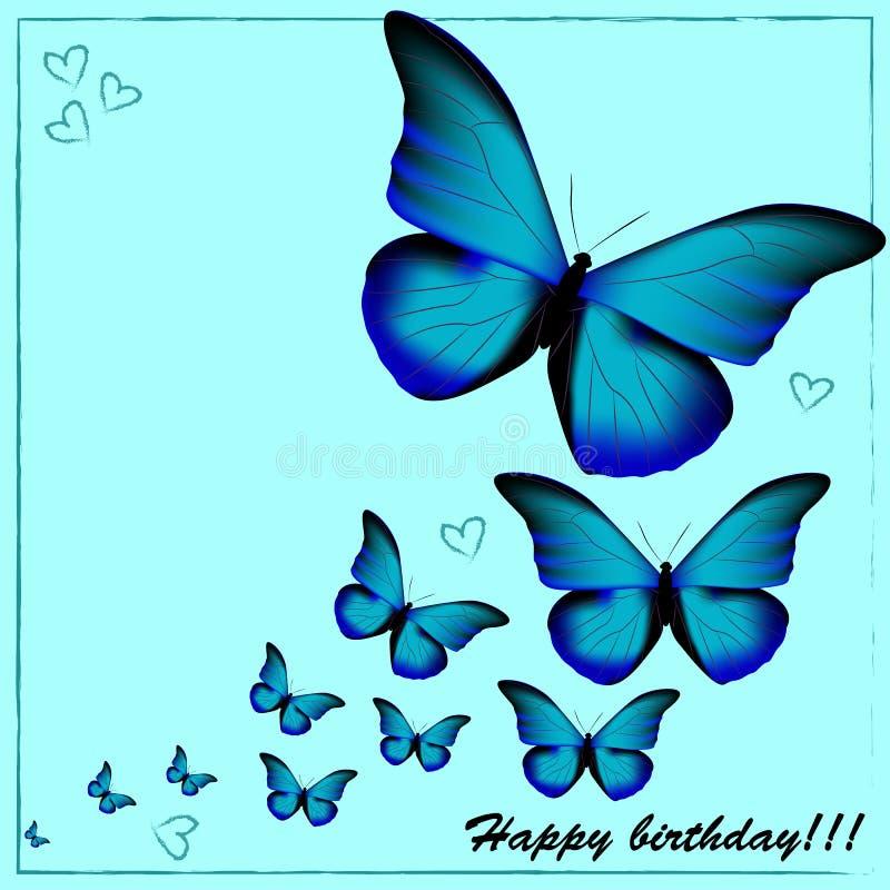 Vykortet med en lycklig födelsedag, många slösar fjärilar på en blått royaltyfri illustrationer