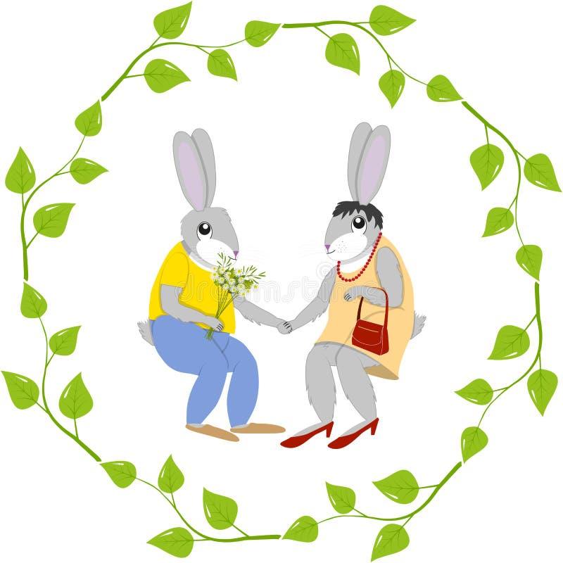 Vykorthare och doe-hare vektor illustrationer