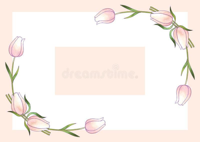 Vykortmall med blommatulpan och sidor stock illustrationer