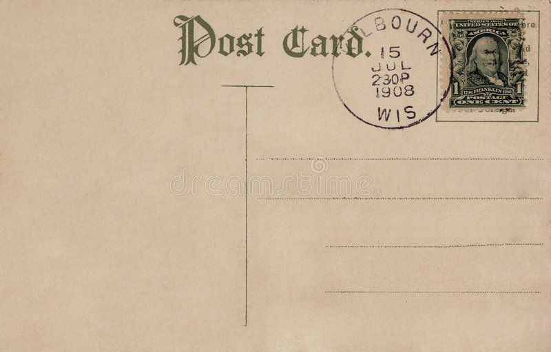 vykorttappning 1908 royaltyfri fotografi