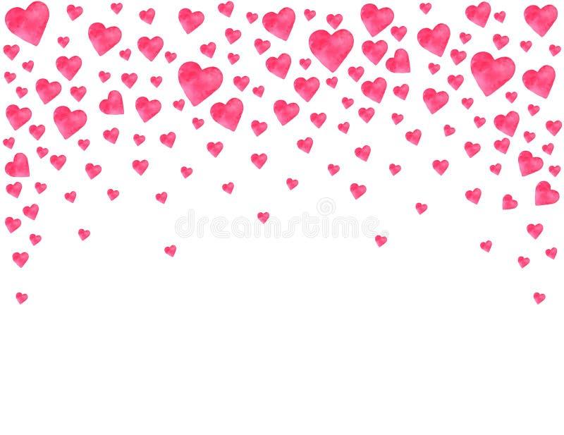 Vykortvalentins hjärtor för dag inbjudan för vattenfärgdag somlyckönskan semestrar vänner, älskar känslor stock illustrationer