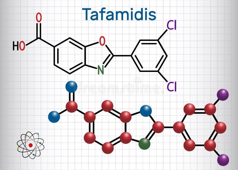 Vyndaqel för Tafamidis handelnamn molekyl Ark av papper i en ca stock illustrationer