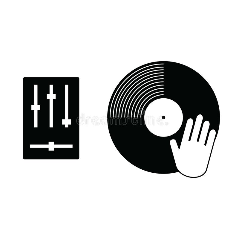 Vynil record with hand scratching icon illustration vector illustration