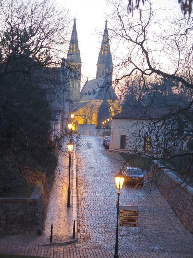 Vysehrad castel i Tjeckien prague arkivfoto