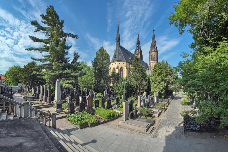 Vysehrad Cemetery and Basilica of St. Peter and St. Paul in Prague, Czech Republic royalty free stock images