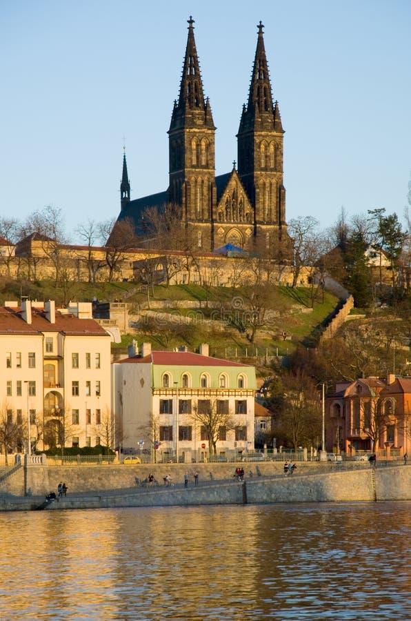 Vysehrad Church and Vltava river, Prague royalty free stock images