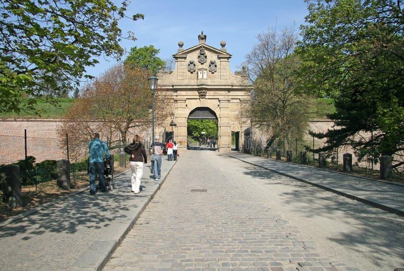 Vysehradpoort (Leopold Gate), Vysehradska Brana, Tsjechische Republiek stock foto