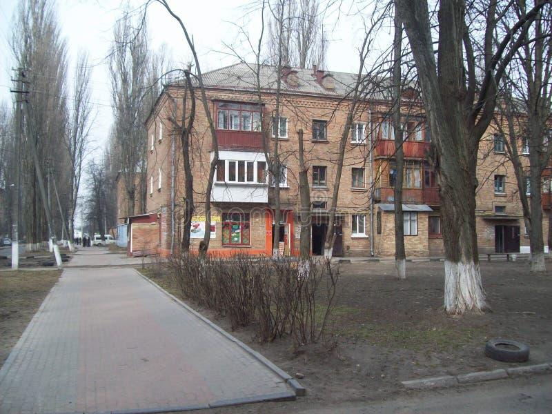 VYSHNEVE, UCR?NIA - 2 DE ABRIL DE 2011 Povos nas ruas na cidade imagem de stock
