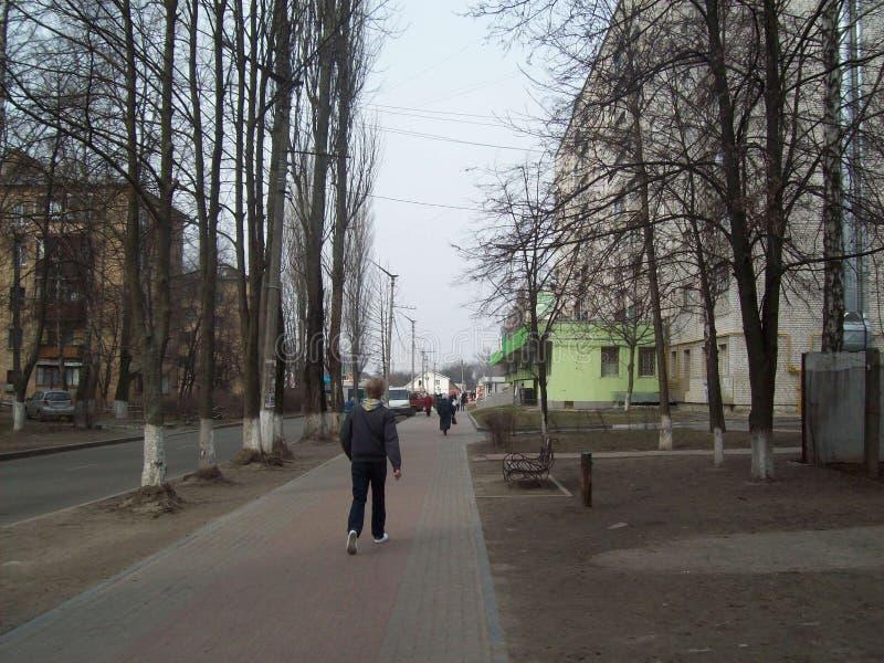 VYSHNEVE, UCRANIA - 2 DE ABRIL DE 2011 Gente en las calles en ciudad fotos de archivo libres de regalías