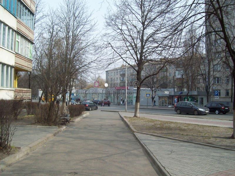 VYSHNEVE, UKRAINE - 2. APRIL 2011 Leute auf den Stra?en in der Stadt stockbilder