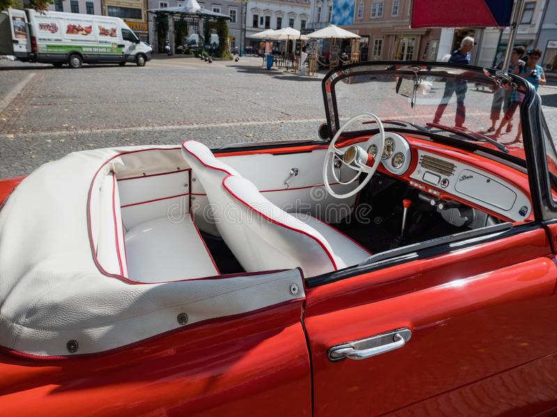 VYSOKE MYTO, CZECH REPUBLIC - Sept. 09. 2018. White leather interior of the historic cabrio Skoda Felicia. Historical red car Skod. A Felicia cabrio on the stock photos