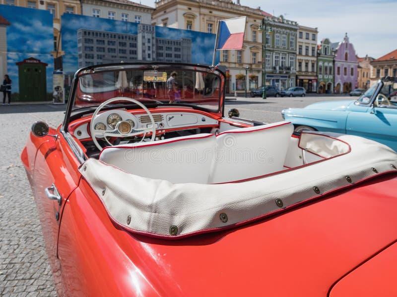 VYSOKE MYTO, CZECH REPUBLIC - Sept. 09. 2018. White leather interior of the historic cabrio Skoda Felicia. Historical red car Skod. A Felicia cabrio on the stock photo