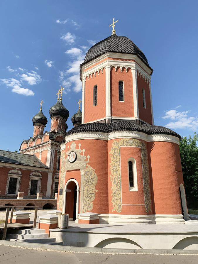 Vysoko-Petrovsky men monastery in Moscow, the Cathedral of St. Peter the Metropolitan of Moscow and all Russia in the summer. Russ. Ia stock photography