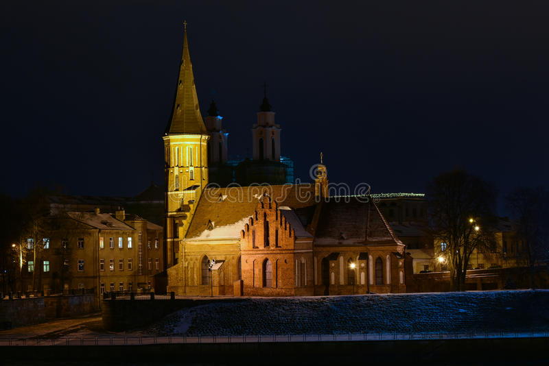 Vytautas de Grote kerk Kaunas Litouwen royalty-vrije stock foto