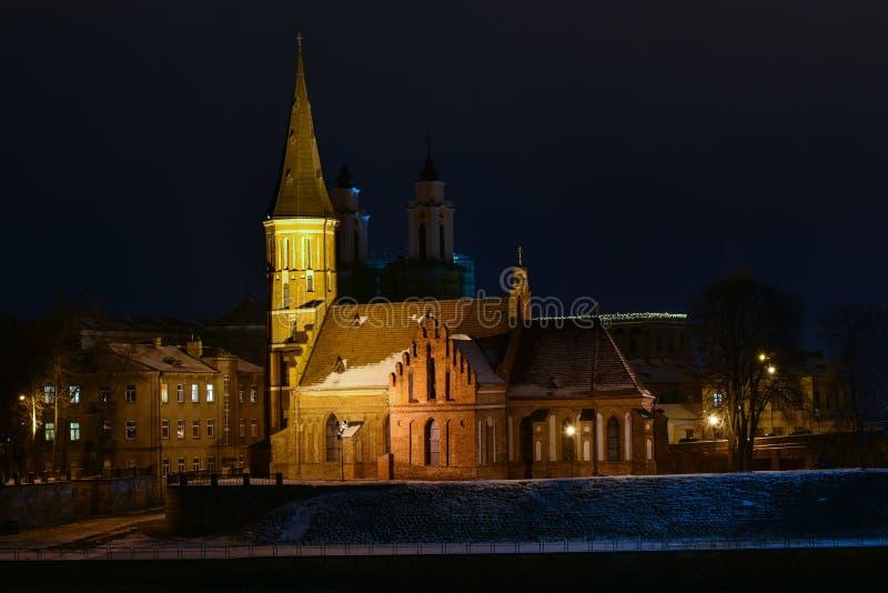 Vytautas die große Kirche Kaunas Litauen lizenzfreies stockfoto