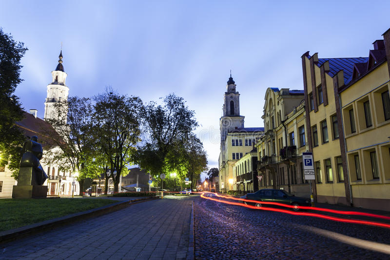 Vytautas-` die große Kirche und das Rathaus Kaunas, Litauen stockfoto