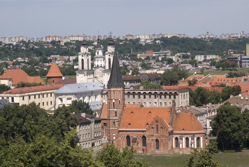 Vytautas kyrka, Kaunas, Litauen royaltyfria bilder