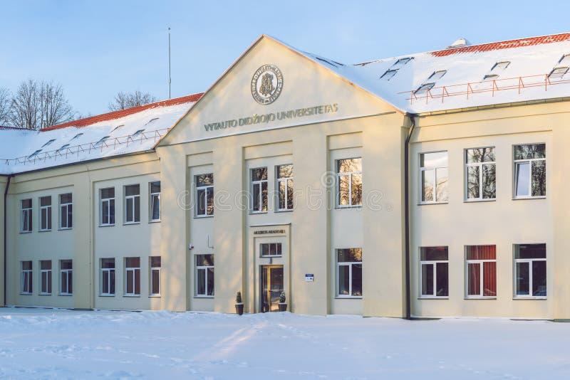 Vytautas Magnus University byggnad för musikakademi, Kaunas, Litauen royaltyfri fotografi