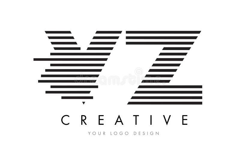 VZ V Z Zebra Letter Logo Design with Black and White Stripes royalty free illustration