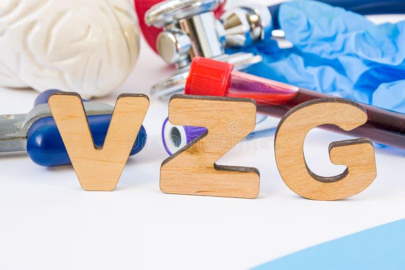 VZG简称或首字母缩略词在前景,在实验室,科学或者医疗工作意思水痘带状疹子IgG,与模型 库存照片