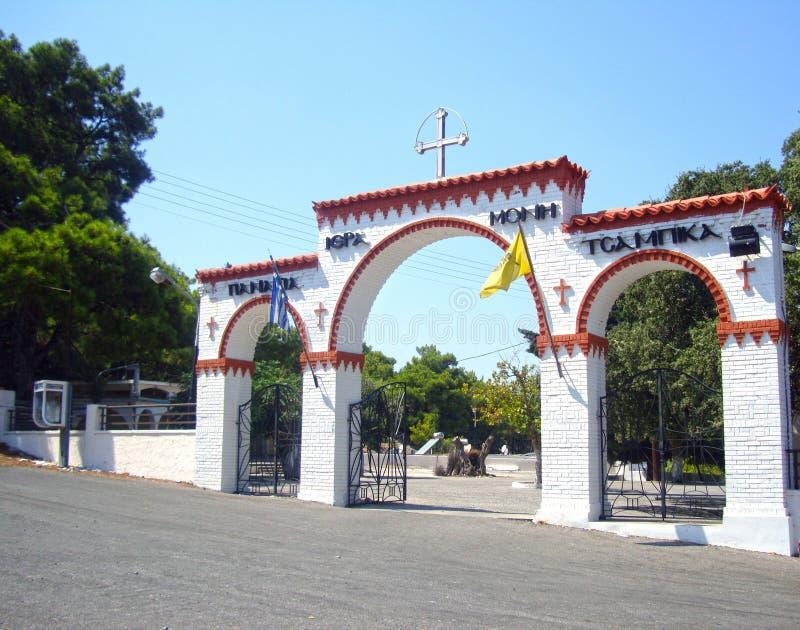 Vzodny brama kościół Maria Tsambika zdjęcia royalty free