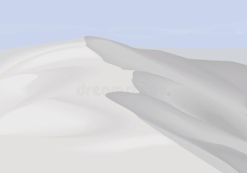 Wüstendünen gestalten Hintergrund landschaftlich Weiße Sande verlassen New Mexiko Einfache flache Minimalismusillustration lizenzfreie abbildung