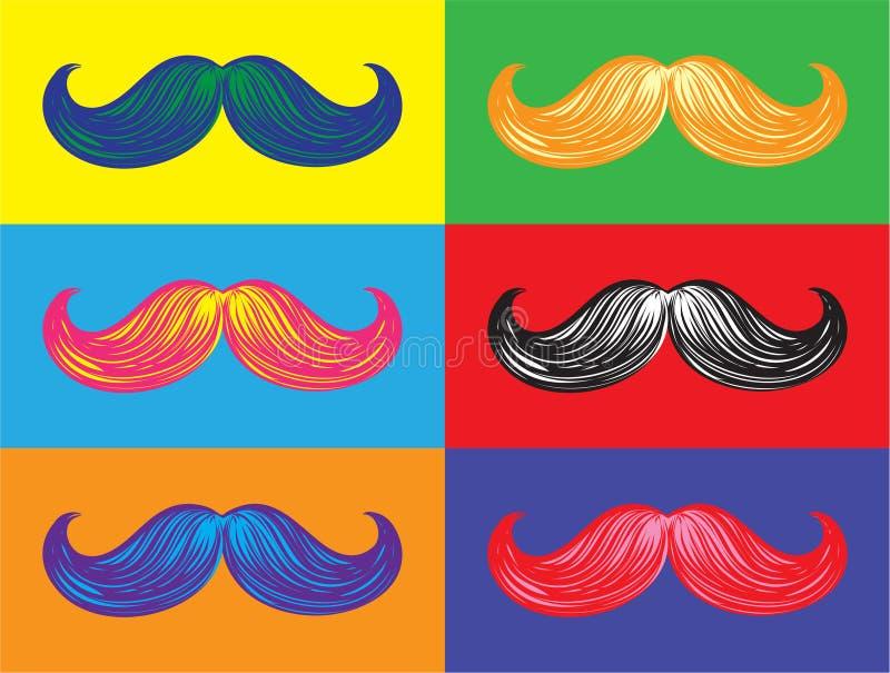 Wąsy w Colours ilustracja wektor