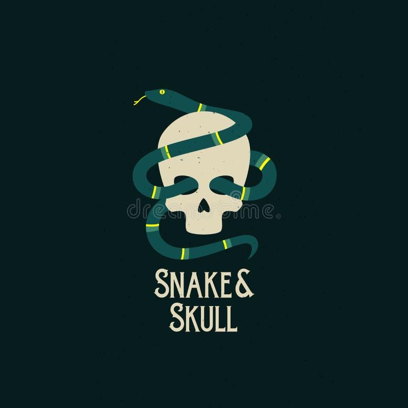 Węża i czaszki wektoru Abstrakcjonistyczny znak symbol lub logo szablon, Mieszkanie stylowa ilustracja Czarny Podławy i tło ilustracja wektor